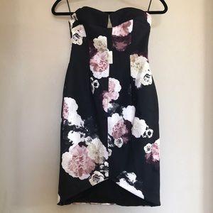 NWT keepsake divide dress dark flower bloom Sz XS